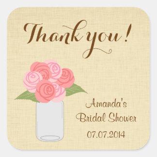Mason Jar Roses Bridal Shower Thank You Stickers