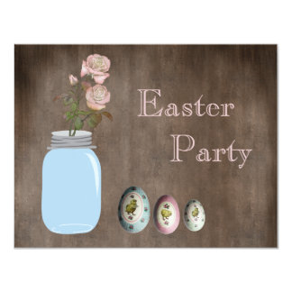 Mason Jar, Roses & Eggs Rustic Easter Party 4.25x5.5 Paper Invitation Card