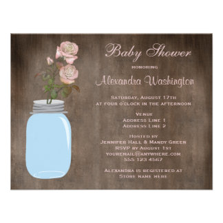 Mason Jar & Roses Rustic Baby Girl Shower Personalized Invitation