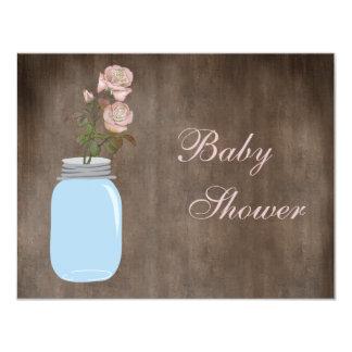 Mason Jar & Roses Rustic Baby Girl Shower 4.25x5.5 Paper Invitation Card