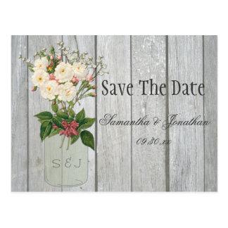 Mason Jar Roses Rustic Barn Wood Save The Date Postcard