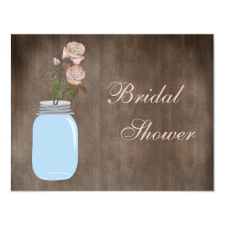 Mason Jar & Roses Rustic Bridal Shower 4.25x5.5 Paper Invitation Card