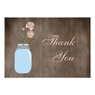 Mason Jar & Roses Rustic Thank You Announcements