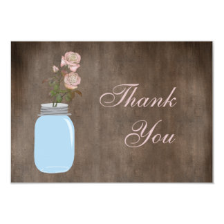 Mason Jar & Roses Rustic Thank You Card