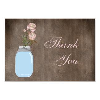 Mason Jar & Roses Rustic Thank You 3.5x5 Paper Invitation Card