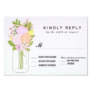 Mason Jar RSVP  Wedding Card