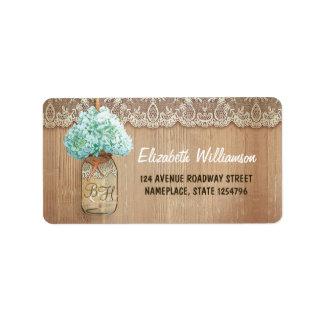 mason jar rustic address labels for weddings