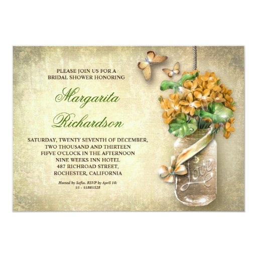 mason jar rustic aged floral bridal shower invites