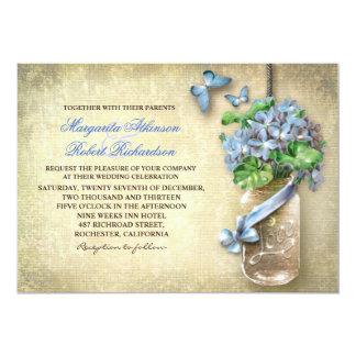 mason jar rustic aged floral wedding invitation