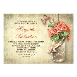Mason Jar Bridal Shower Invitations Rustic Country Wedding