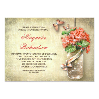 mason jar rustic bridal shower invitations