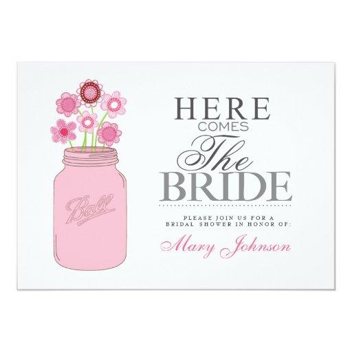 "Mason Jar Rustic Bridal Shower Party Card 5"" X 7"" Invitation Card"