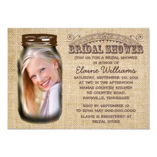 "Mason Jar Rustic Burlap Bridal Shower 5"" X 7"" Invitation Card"