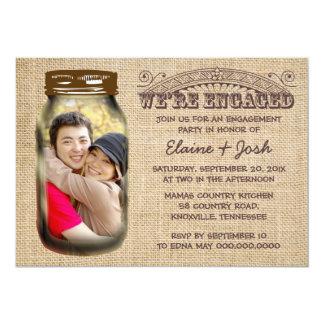 "Mason Jar Rustic Burlap Engagement Party 5"" X 7"" Invitation Card"