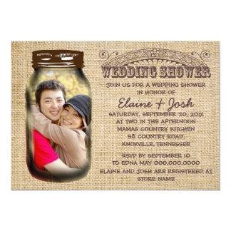 "Mason Jar Rustic Burlap Wedding Shower 5"" X 7"" Invitation Card"