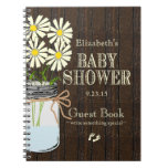 Mason Jar Rustic Country-Baby Shower Guest Book- Note Book