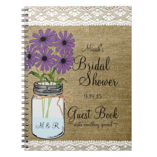 Mason Jar Rustic Country-Bridal Shower Guest Book- Notebook
