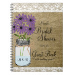 Mason Jar Rustic Country-bridal Shower Guest Book- Spiral Notebook at Zazzle