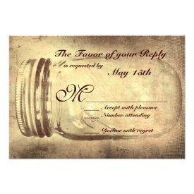 Mason Jar Rustic Country Wedding RSVP Cards
