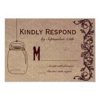 Mason Jar Rustic CountryWedding RSVP Cards