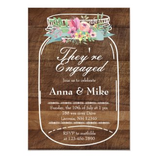 Mason Jar Rustic Engagement Party Invitation