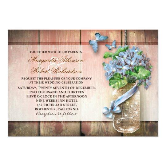 mason jar rustic floral wedding invitation
