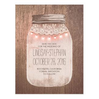 Mason Jar Rustic Lace & Lights Save The Date Postcard