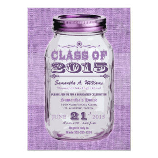 "Mason Jar Rustic Purple 2015 Graduation 4.5"" X 6.25"" Invitation Card"