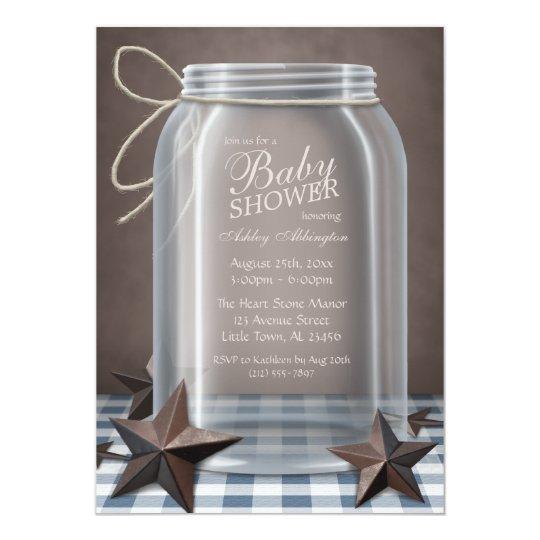 Mason Jar Rustic Stars Blue Gingham Baby Shower Card