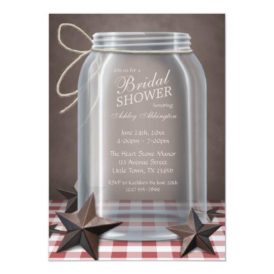 Mason Jar Rustic Stars Red Gingham Bridal Shower Card