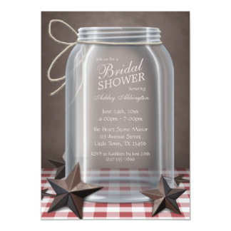 Mason Jar Rustic Stars Red Gingham Bridal Shower Custom Invite
