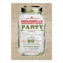 Mason Jar Rustic Vintage Christmas Party Card