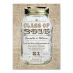 Mason Jar Rustic Vintage Look 2015 Graduation 4.5x6.25 Paper Invitation Card
