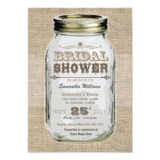 Mason Jar Rustic Vintage Look Bridal Shower Card