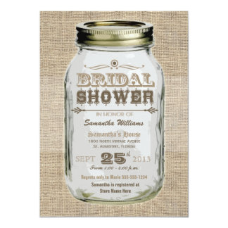 Mason Jar Rustic Vintage Look Bridal Shower Personalized Announcement