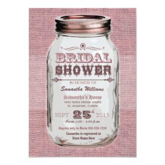 Mason Jar Rustic Vintage Look Pink Bridal Shower Card