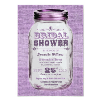 Mason Jar Rustic Vintage Look Purple Bridal Shower Card