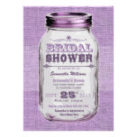 Mason Jar Rustic Vintage Look Purple Bridal Shower Personalized Announcement