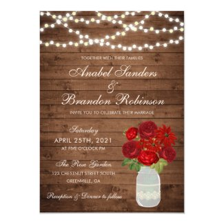 Mason Jar Rustic Wedding Invitation