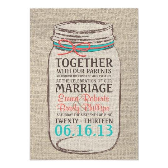Wedding Invitations Mason Jar: Mason Jar Rustic Wedding Invitation - Coral Teal