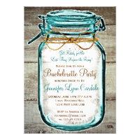 Mason Jar Rustic Wood Bachelorette Party Invites Invite