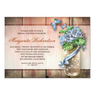mason jar rustic wood floral bridal shower invites