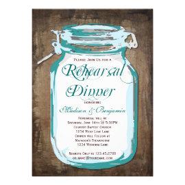 Mason Jar Rustic Wood Rehearsal Dinner Invitations