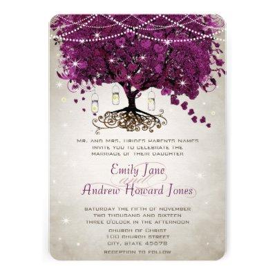 Mason Jar Sangria Heart Leaf Firefly Tree Wedding Custom Announcement
