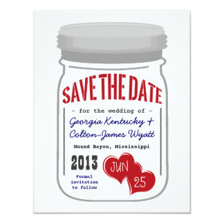 Mason Jar Save the Date Red White Blue Card