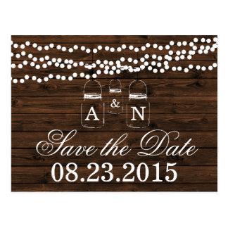 Mason Jar SAVE THE DATE Wedding Postcard