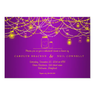 Mason Jar Sparkling Lights Purple Rehearsal Dinner Card