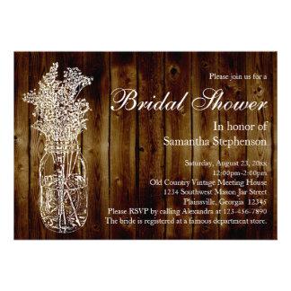 Mason Jar Stamp Dark Wood Bridal Shower Invitation