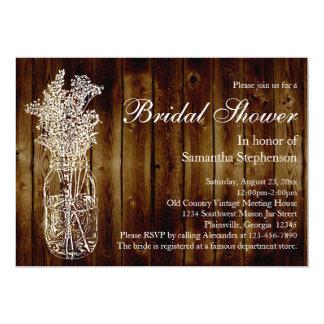 Mason Jar Stamp/Dark Wood Bridal Shower Invitation