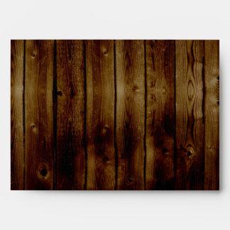 Mason Jar Stamp on Dark Wood Plank Envelope